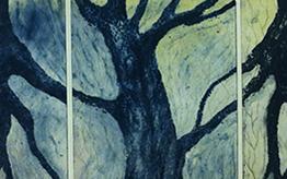Tiheä tunnelma, 2016, carborundum, kuivaneula, 40 x 120 cm